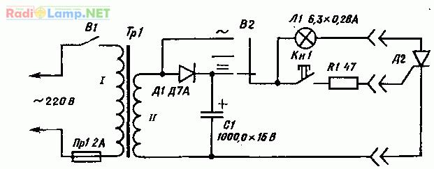 Принципиальная электрическая схема испытателя тиристоров