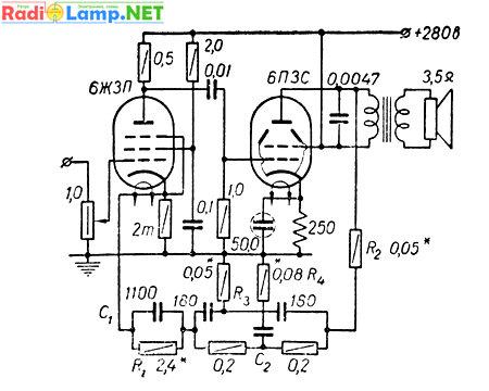 Передатчик на лампе 6п3с схема