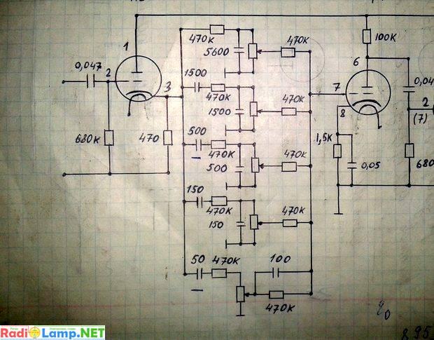 Принципиальная схема пятиполосного эквалайзера на лампах