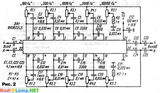 Принципиальная схема пятиполосного эквалайзера на микросхеме BA3822LS