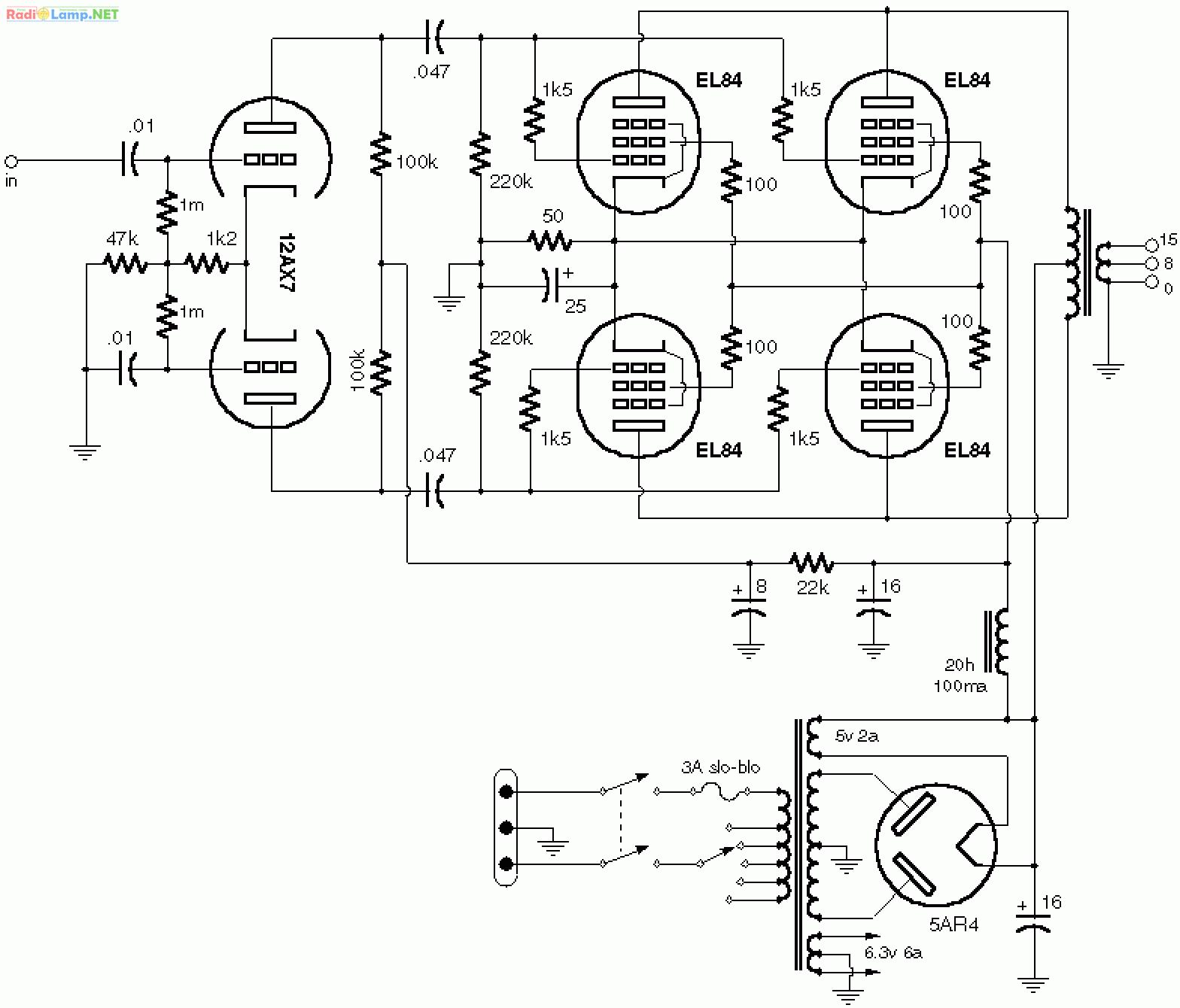 схема лампово транзисторного усилителя