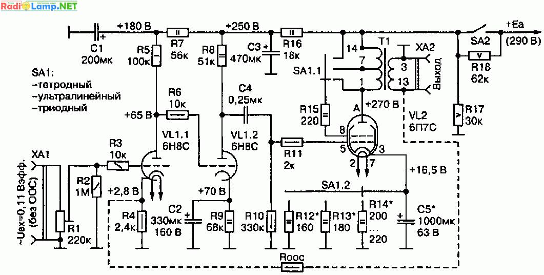 Тетродный однотактный ламповый