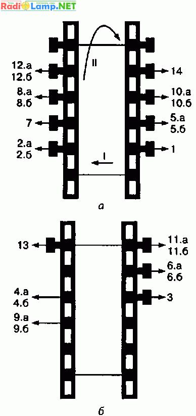 Схемы расположения выводов секций обмоток на стандартном каркасе от ТПП