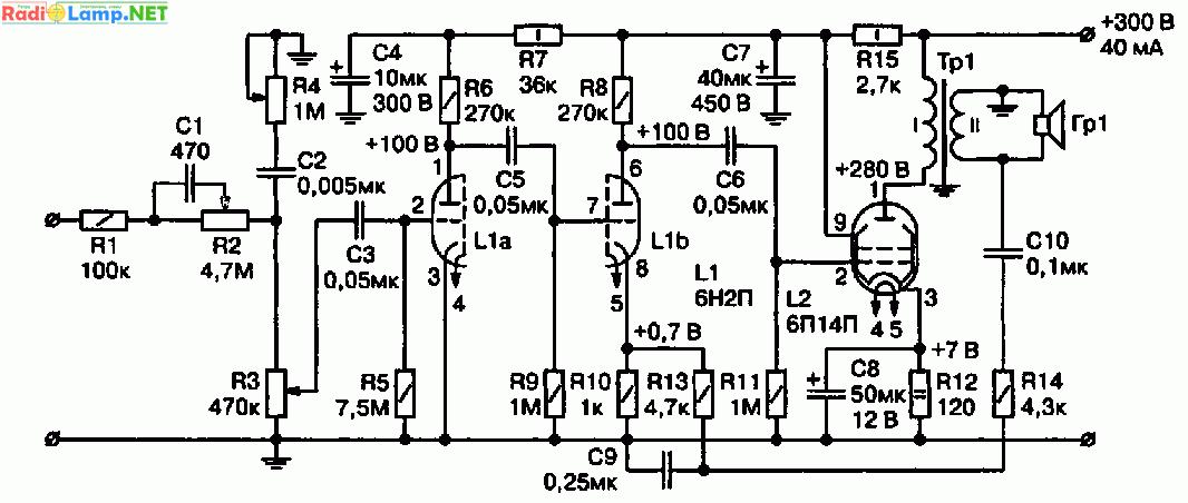 Схема лампового усилителя на 6Н2П, 6П14П (3 Вт) .