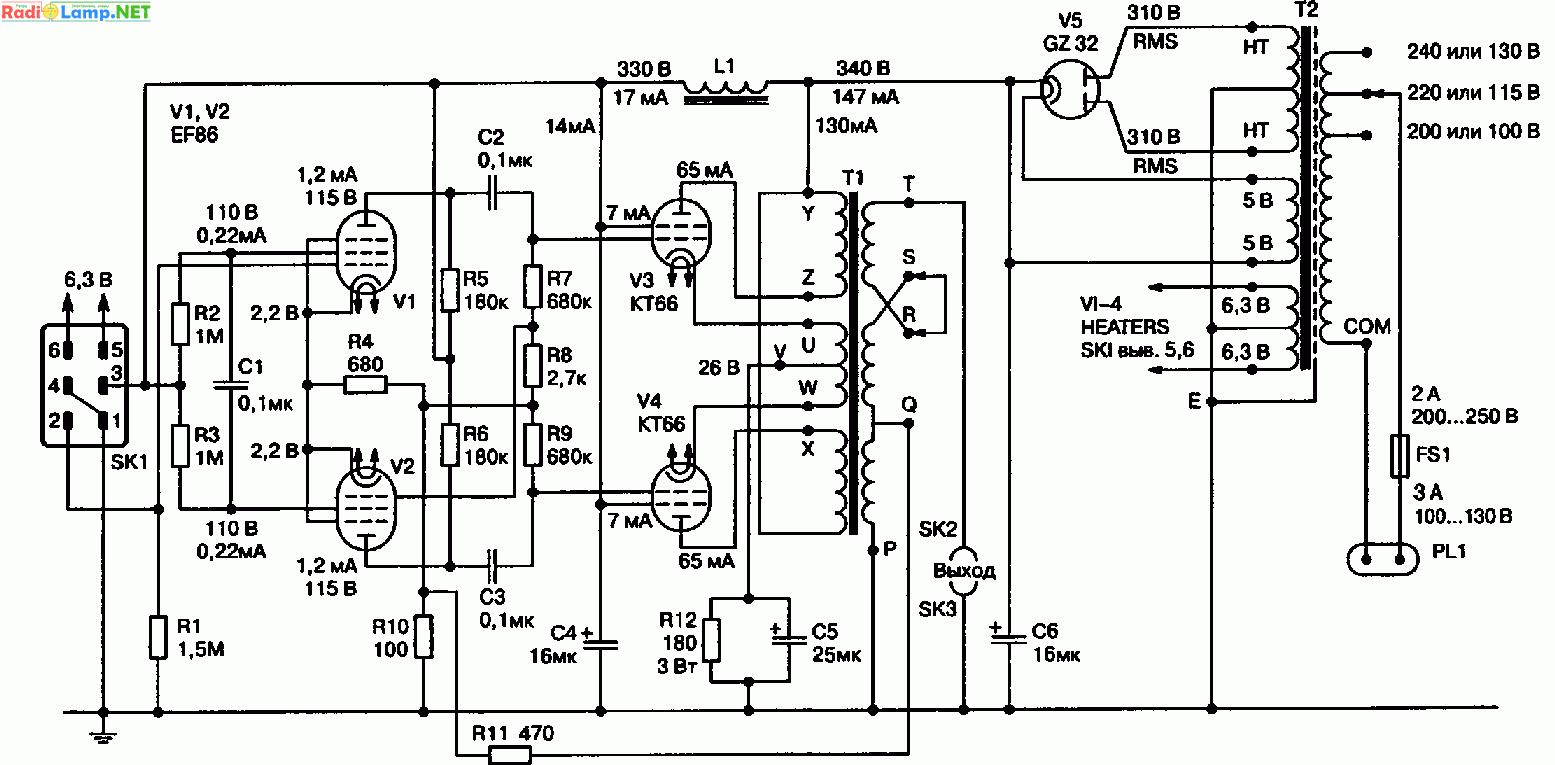 Схема лампового УНЧ QUAD II на лампах EF86, on