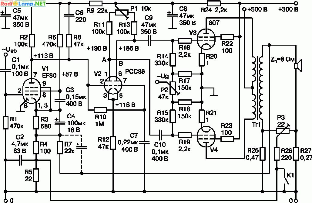 Схема лампового УМЗЧ на 807. секции первичной обмотки... секции вторичной n1—n5 соединены параллельно и содержат по...