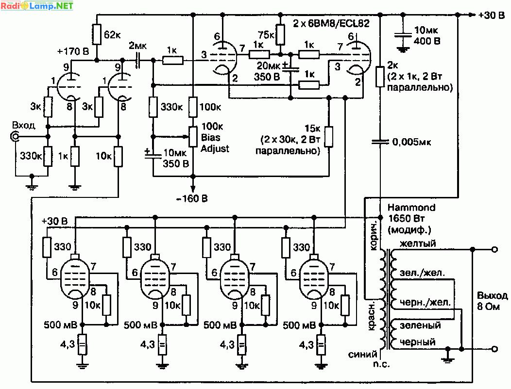 Схему однотактного лампового УНЧ предложил Дэвид Вользе.  Усилитель отличается повышенной выходной мощностью.
