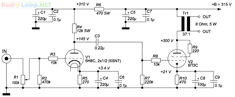 Принципиальная схема лампового усилителя на 6н8с и 6п3с