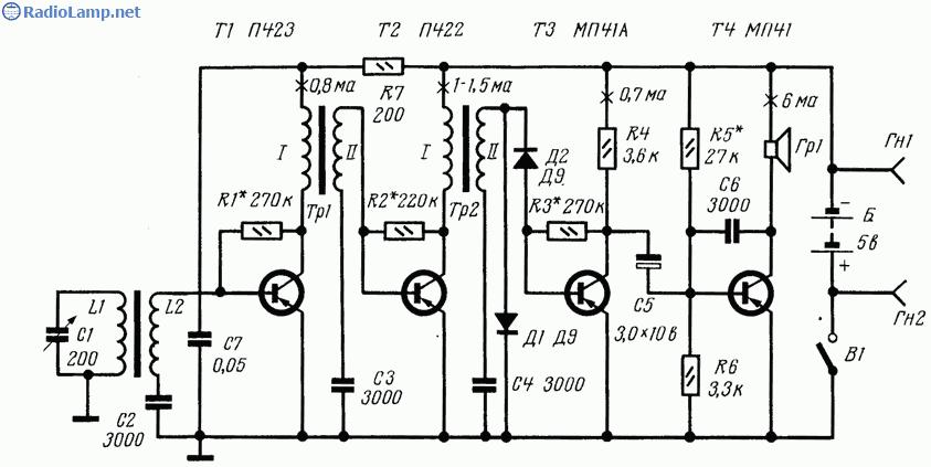 Схема радиоприемника 2-V-2 на