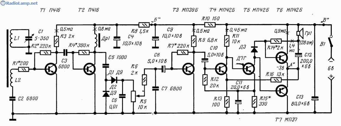 Схема радиоприемника 2-V-4 с