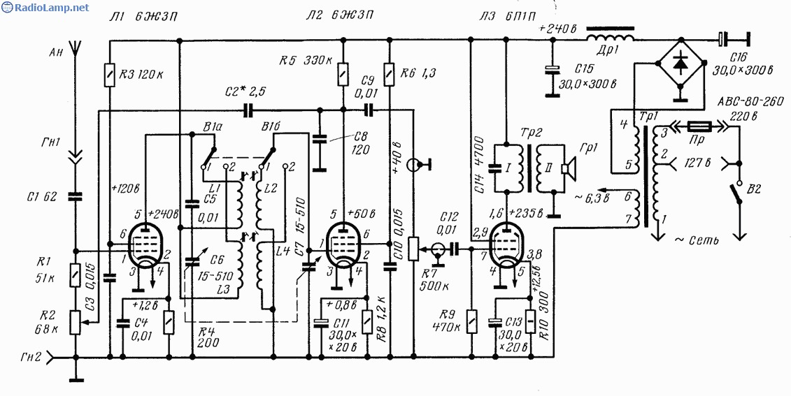 Схема радиоприемника 1-V-1 на