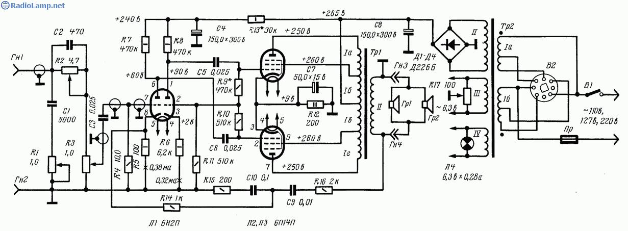 6п14п двухтактный схема