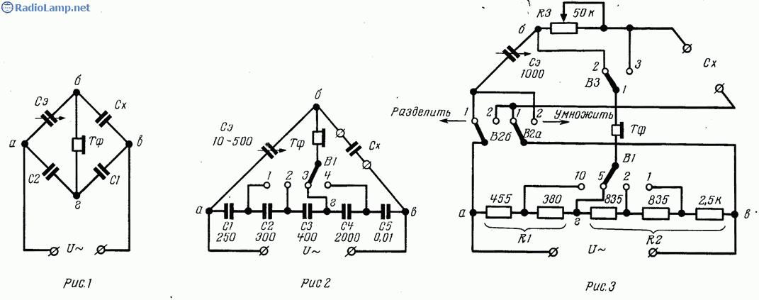 Схемы приборов для измерения эмкости конденсаторов