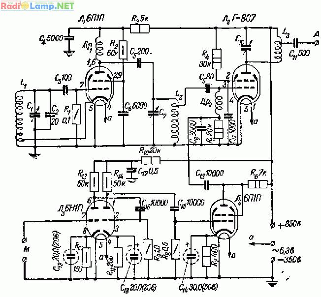 В анодном контуре (L2, С7) этой же лампы происходит удвоение...  Рис. 30.  Принципиальная схема передатчика.