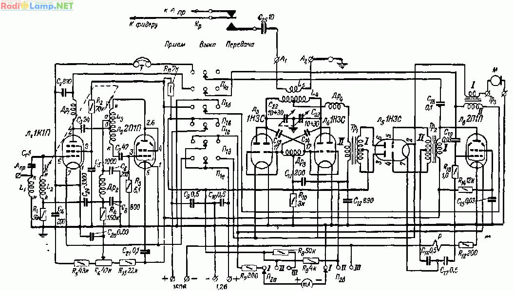 В передатчике применена анодная модуляция.  Модулятор выполнен на двух лампах: Л6 (2П1П), служащей усилителем...