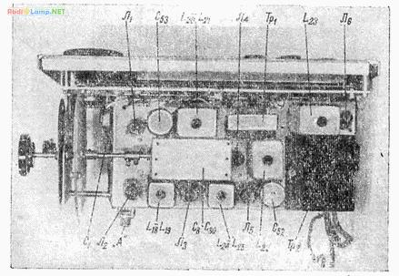 Расположение компонентов на шасси приемника, вид сверху