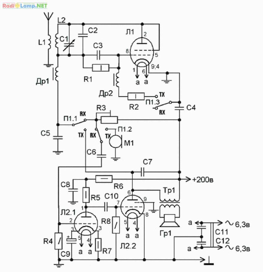 Схема лампового усилителя 6н6п