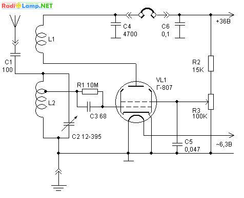на лампе Г-807, схема