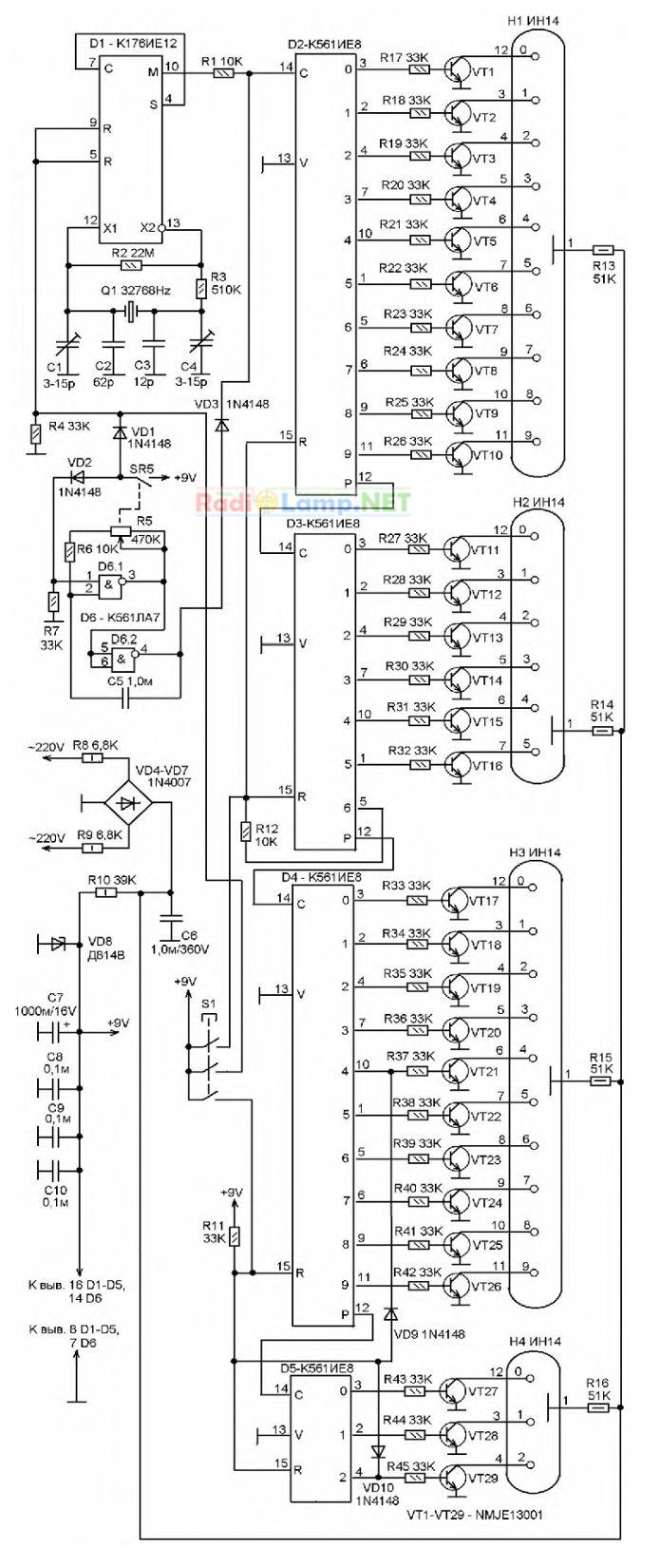Принципиальная схема электронных цифровых часов на индикаторах ИН-12 (ИН-14, ИН-18)
