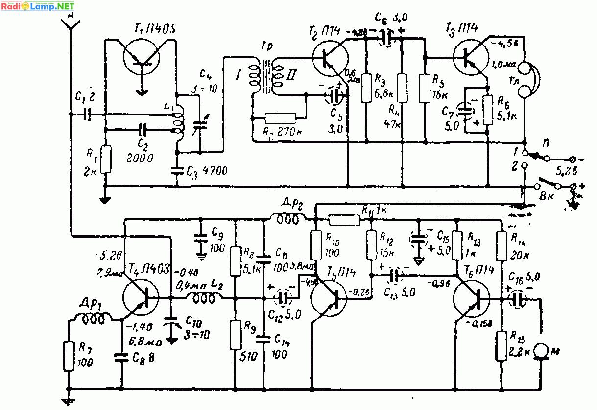 схема радиоприемника на двух транзисторах