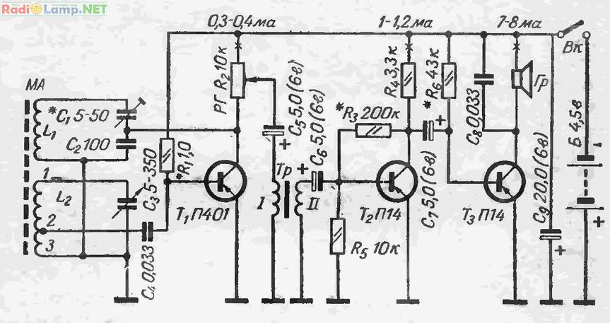 Схема трехтранзисторного приемника с рефлексным каскадом и нерегулируемой обратной связью.