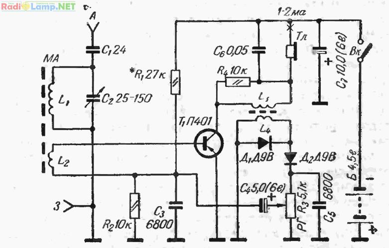 Схема простого приемника.  Сборка транзисторных приемников должна производиться в определенной последовательности.