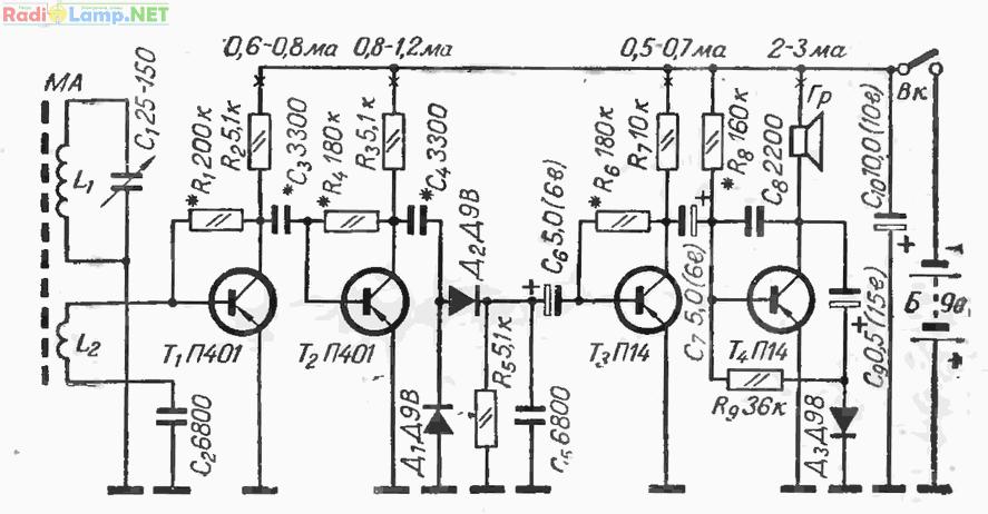 Схема приемника 2-V-2 на 4х