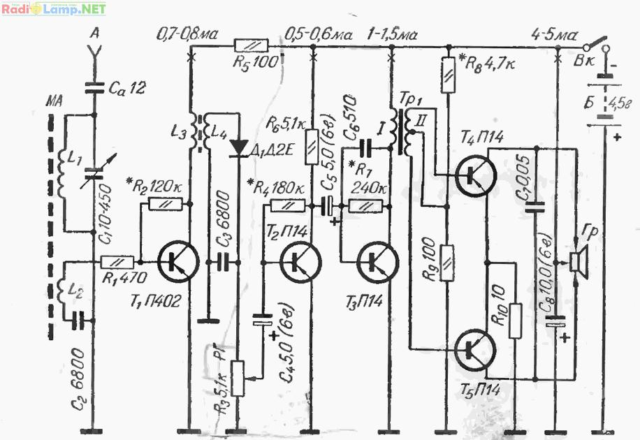 Схема приемника 1-V-З на пяти