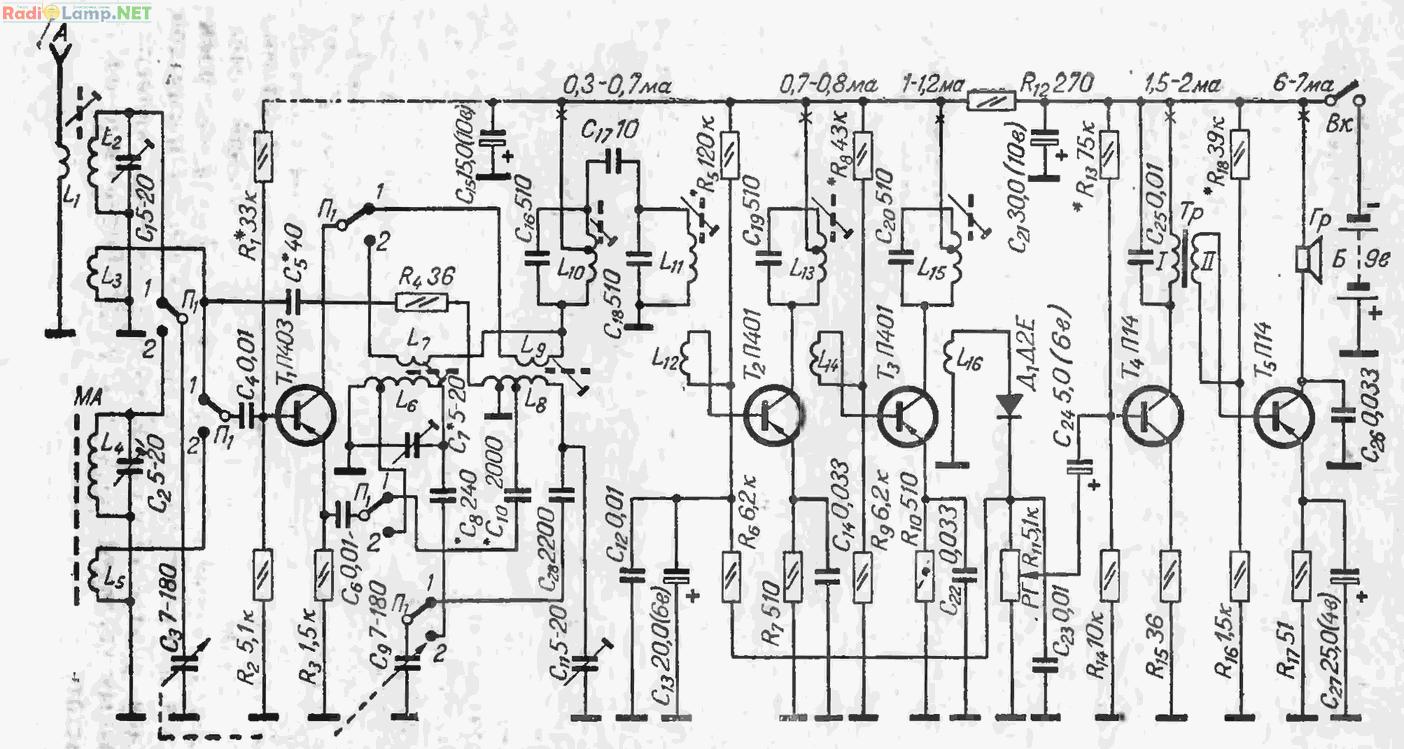 принципиальная схема простых супергетеродинов на лампах