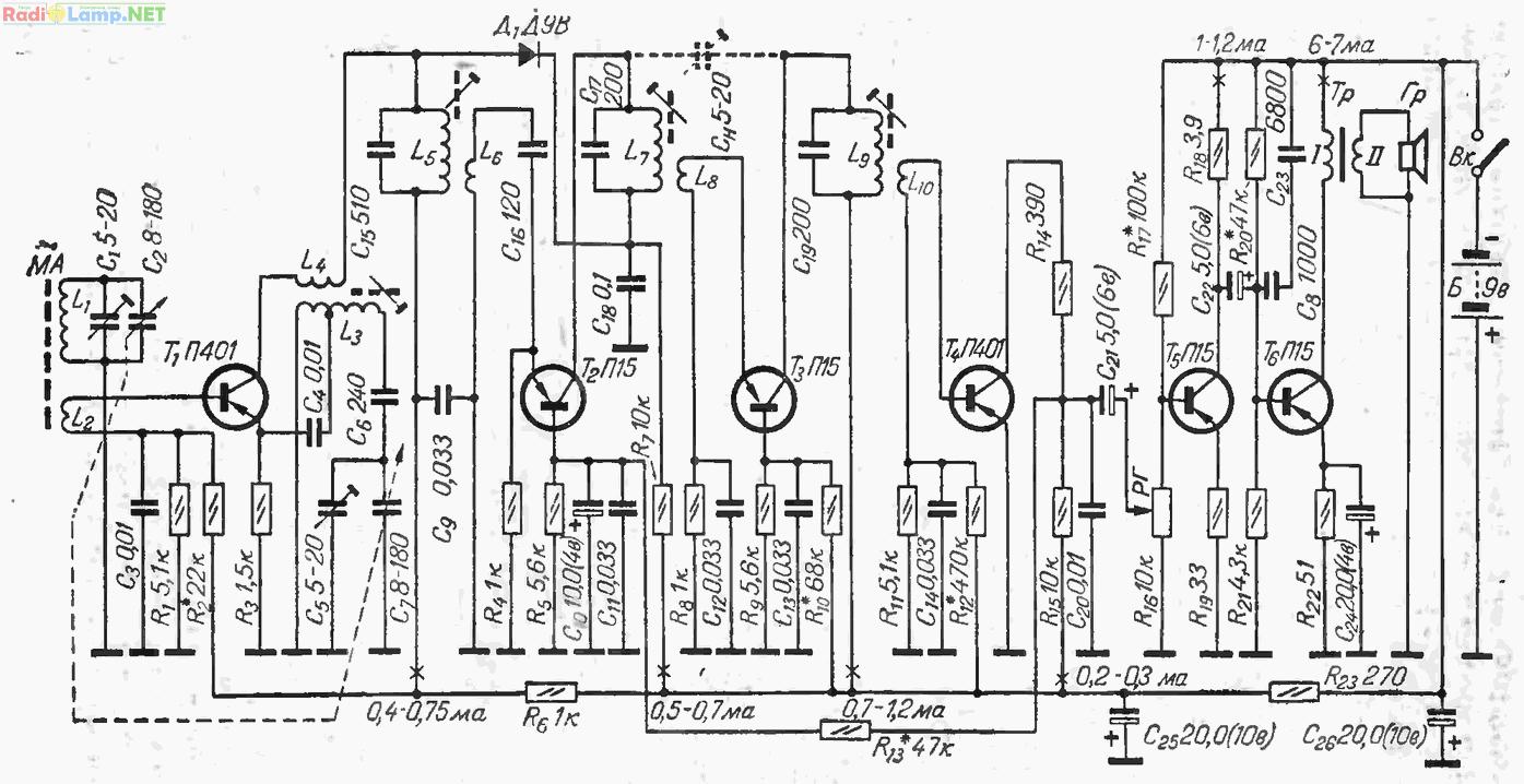 Схема супергетеродинного СВ-приемника с детектором на транзисторе.