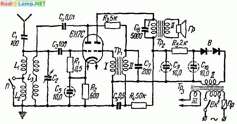 Приемник СВ-ДВ на лампе 6Н7С с