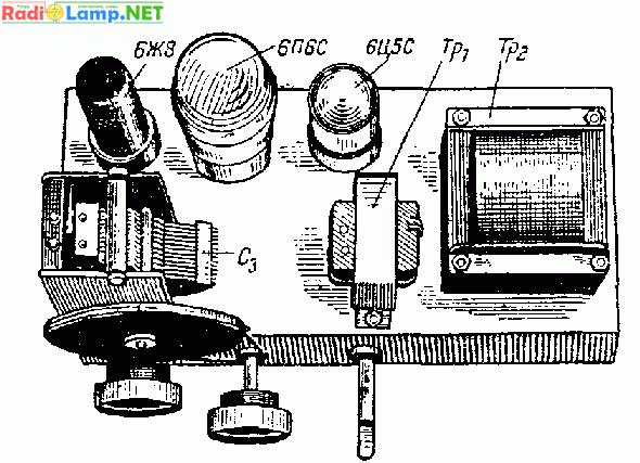 Простой приемник на лампах 6Ж8