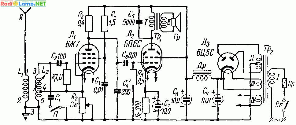 Принципиальная схема самодельного приемника с вариометром и на лампах 6Ж7 и 6П6С