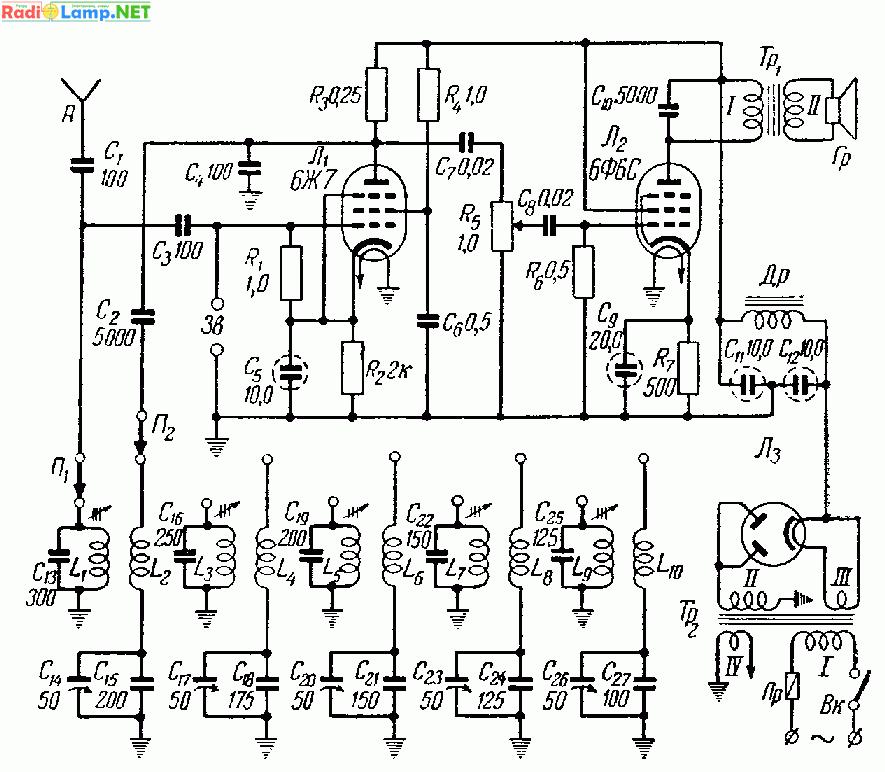 Гнезда Зв служат для включения звукоснимателя.  При этом переключатели П1 и П2 ставятся в холостое положение...