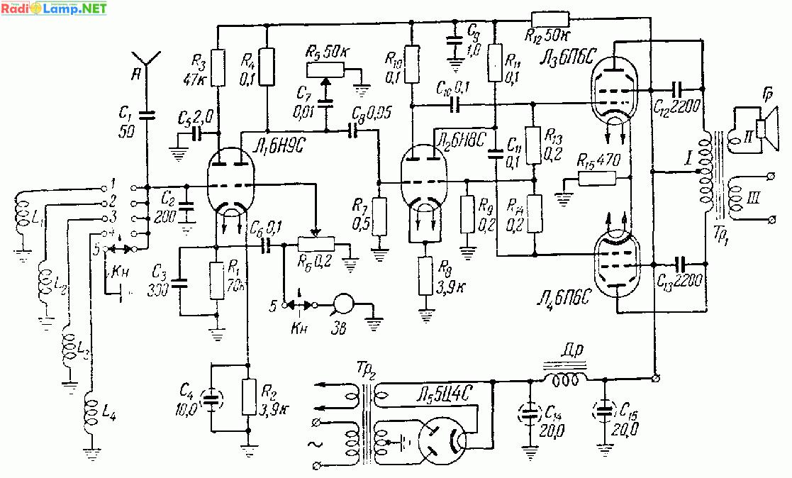 Простая радиола на лампах 6Н9С