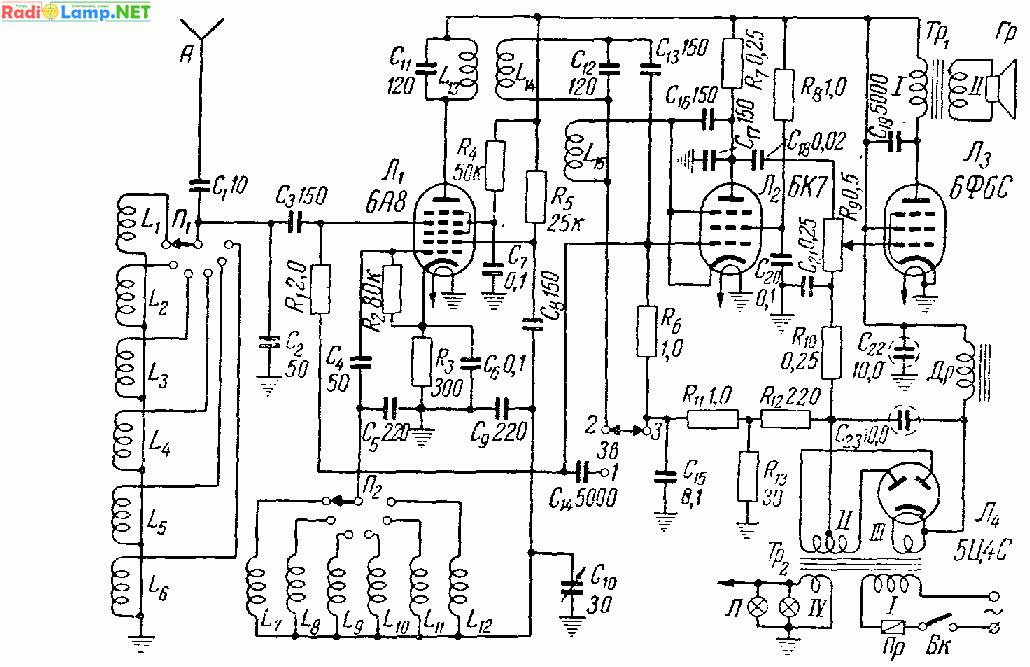 Гетеродин собран по схеме с емкостной обратной связью, что значительно упрощает коммутацию и конструкцию катушек.