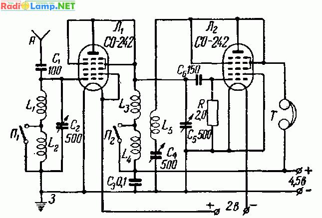 27. Принципиальная схема двухлампового приемника с низким анодным напряжением.  Питание.  Нити накала ламп приемника...