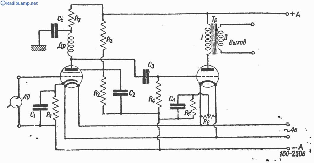...прием и от кристаллического детектора и после лампы, ибо представляет собой (рис. 41) нормальную схему усилителя...