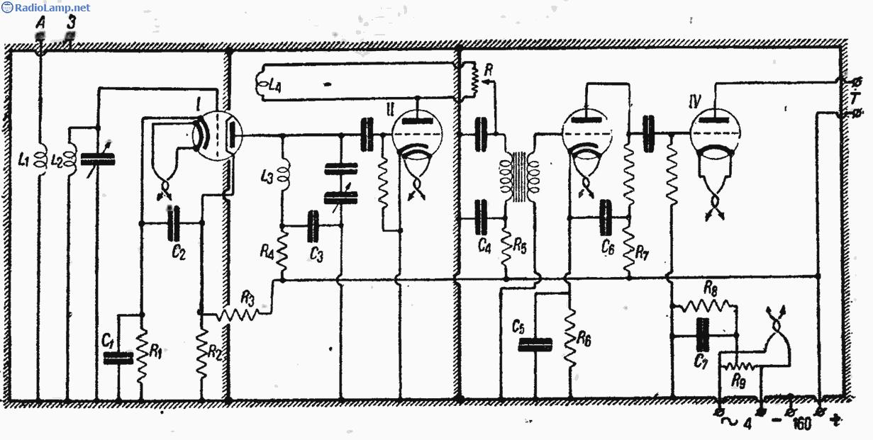 Схема коротковолнового приемника КУБ-4.